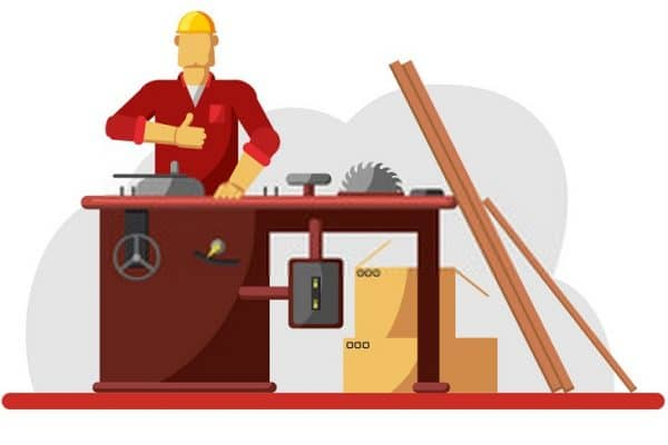 Men using Table saw vector illustration