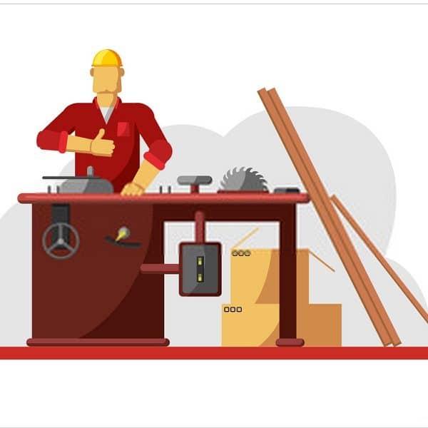 Men using Table saw vector illustration