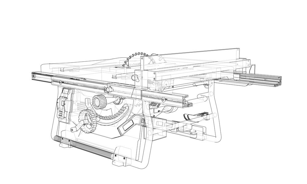 Outline table saw vector