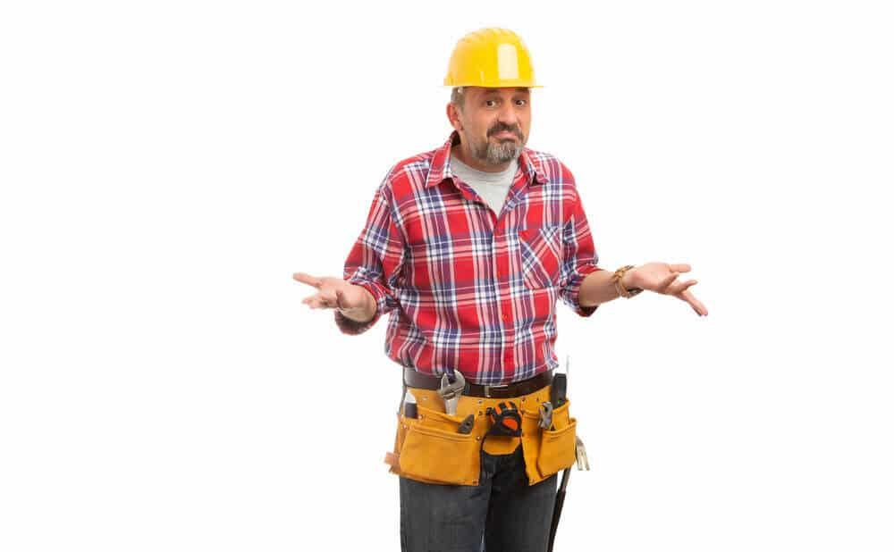 worker making confused expression and gesture