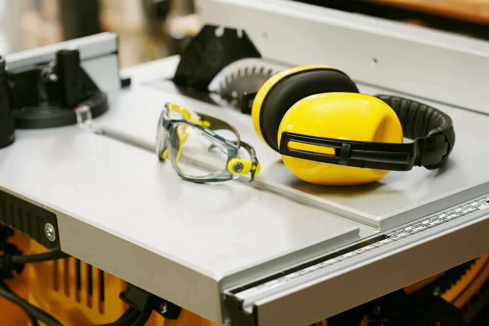 Earmuffs and Safety glasses on Table saw
